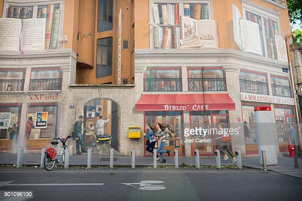 Bibliothèque de la Cit é壁画にフランス、リヨン発