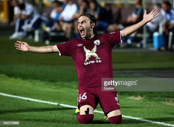 Bibras Natho of FC Rubin Kazan celebrates after scoring a goal during the Russian Premier League match between FC Rubin Kazan and FC Dynamo Moscow at...