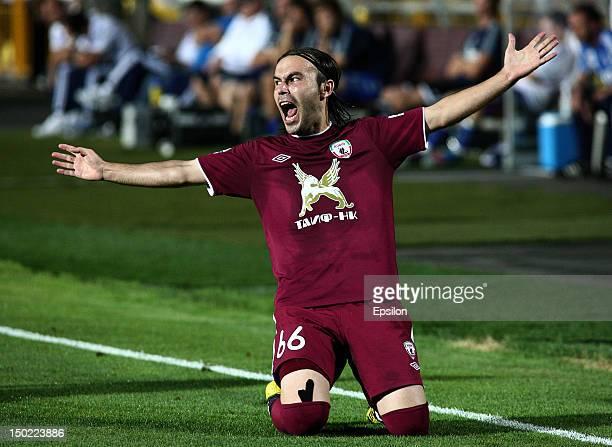 Bibras Natho of FC Rubin Kazan celebrates after scoring a goal during the Russian Premier League match between FC Rubin Kazan and FC Dynamo Moscow at...