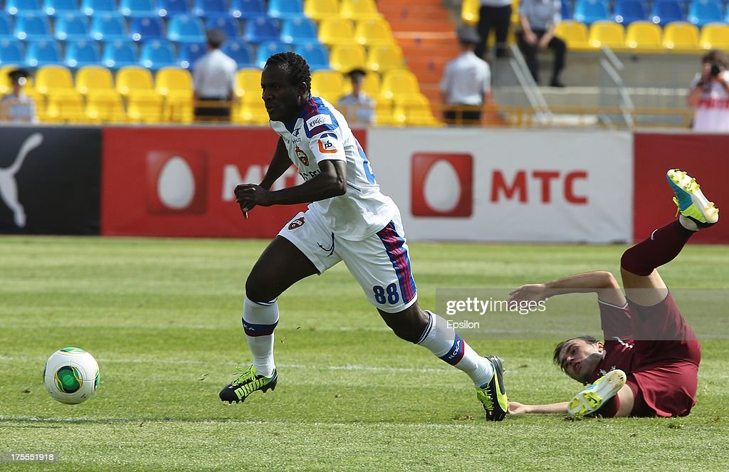 Bibras Natkho of FC Rubin Kazan battles for the ball with <a gi-track='captionPersonalityLinkClicked' href=/galleries/search?phrase=Seydou+Doumbia&family=editorial&specificpeople=5546505 ng-click='$event.stopPropagation()'>Seydou Doumbia</a> of PFC CSKA Moscow during the Russian Premier League match between PFC CSKA Moscow and FC Rubin Kazan at the Tsentralny Stadium on August 4, 2013 in Kazan, Russia.