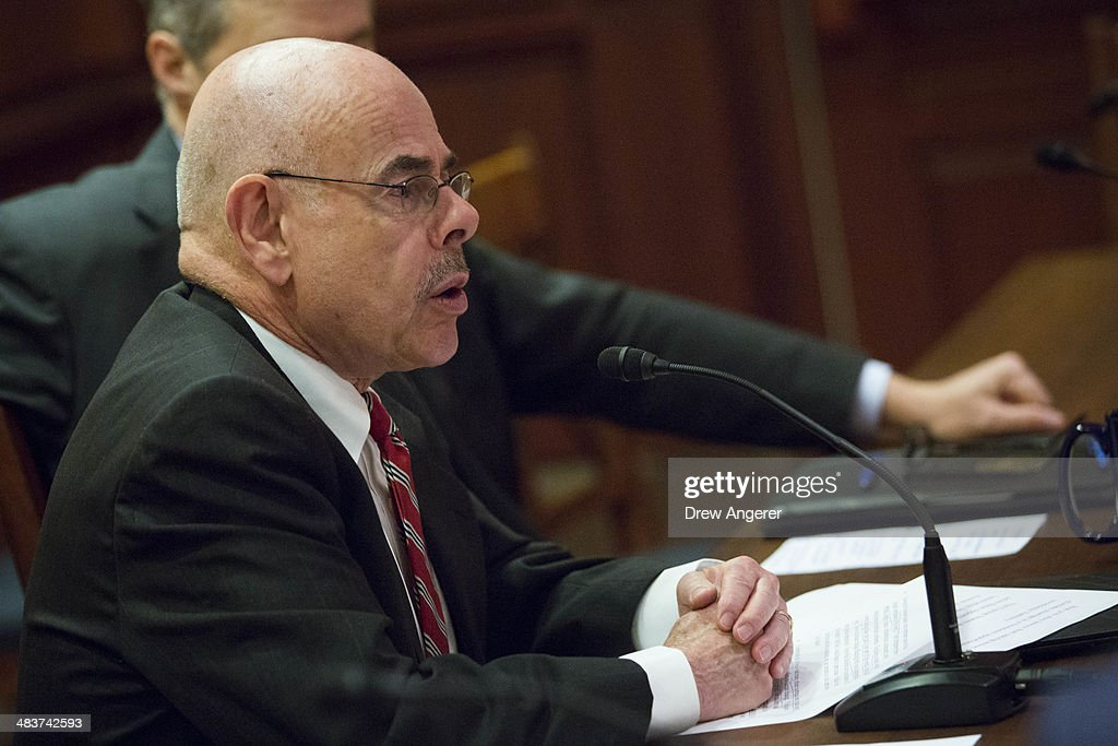 Bicameral Task Force On Climate Change co-chair Rep. <a gi-track='captionPersonalityLinkClicked' href=/galleries/search?phrase=Henry+Waxman&family=editorial&specificpeople=217361 ng-click='$event.stopPropagation()'>Henry Waxman</a> (D-CA) speaks during a discussion about climate change with business leaders, on Capitol Hill, April 10, 2014 in Washington, DC. The task force is one of several Democratic groups in Congress devoted to climate change issues.