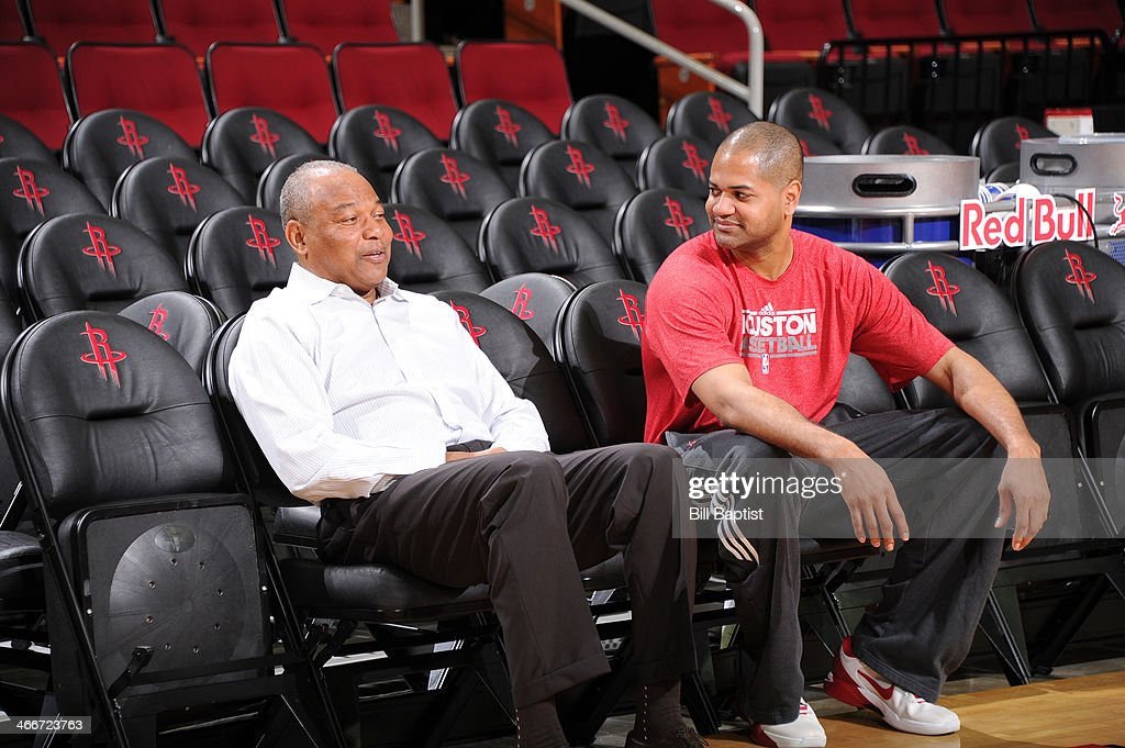 J.B. Bickerstaff Assistant Head Coach of the Houston Rockets talks with his father <a gi-track='captionPersonalityLinkClicked' href=/galleries/search?phrase=Bernie+Bickerstaff&family=editorial&specificpeople=211158 ng-click='$event.stopPropagation()'>Bernie Bickerstaff</a> Assistant Head Coach of the Cleveland Cavaliers before the game on February 1, 2014 at the Toyota Center in Houston, Texas.