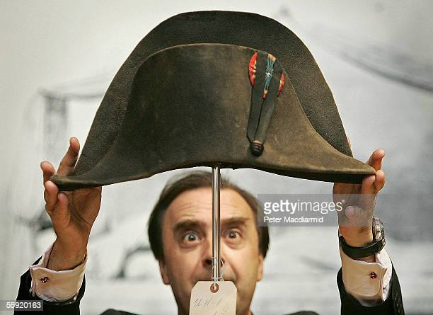 A bicorn hat said to have been worn by Napoleon Bonaparte is readied for display by Nicholas Lambourn at Christie's on October 14 2005 in London...