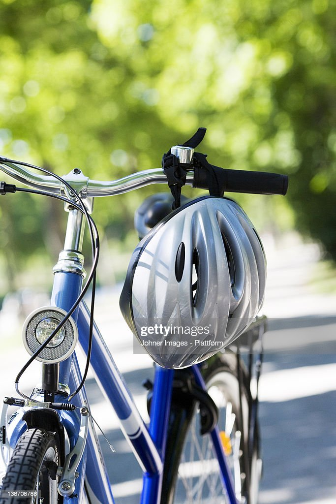 A bicycle and a safety helmet, Sweden.