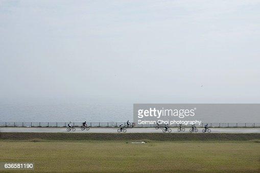 Bicycle fun at Saemangeum Seawall, Yellow Sea, Korea