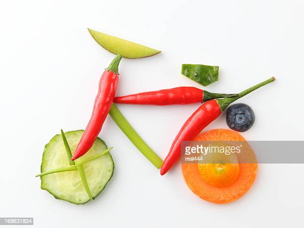 bicycle in vegetable and fruit style