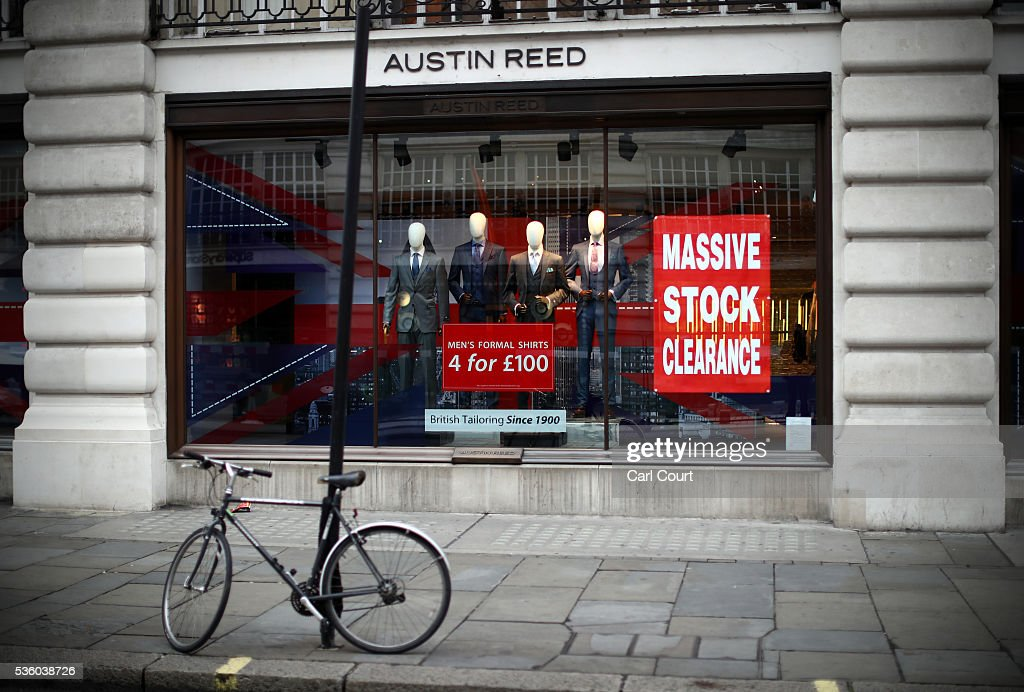 A bicycle is chained to a lamp post outside an Austin Reed store on May 31, 2016 in London, England. After going into administration last month and failing to find a buyer, the company today announced that all 120 Austin Reed stores will close by the end of June with a loss 1,000 jobs.