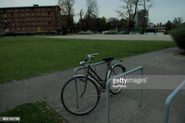 A bicycle is seen on the Mill Island in the center of the city on 19 October 2017