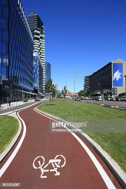 Bicycle lane in Milan
