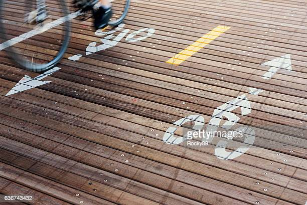 Bicycle Lanes at the Brooklyn Bridge in New York City