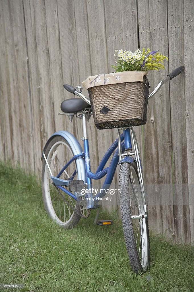 Bicycle leaning against fence : Stock Photo