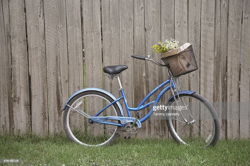 Bicycle leaning against fence : Foto stock