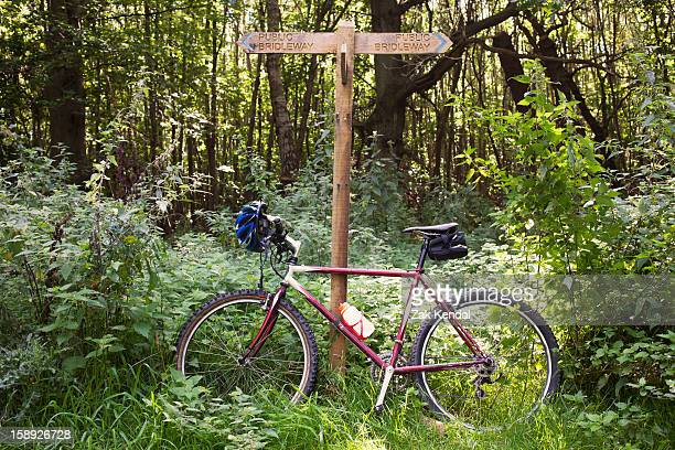 Bicycle leaning against forest road signs