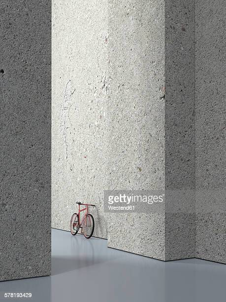 Bicycle leaning on concrete wall of a hall, 3D Rendering