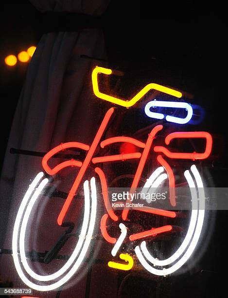 Bicycle logo in neon for Fat Tire beer popular craft beer Seattle Washington March 8 2015