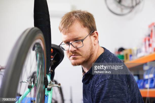 Bicycle mechanic at work