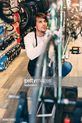 Bicycle Mechanic : Stock Photo