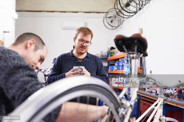 Bicycle mechanics at work