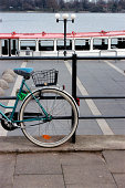 Bicycle near tour boat