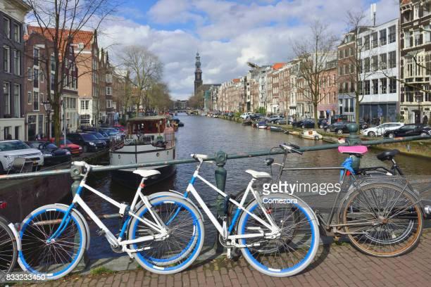 Bicycle on Bridge, Amsterdam's Cityscape, Netherlands