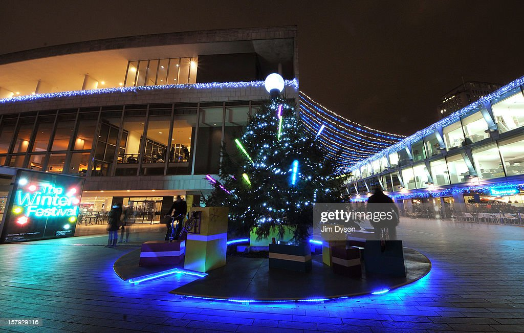 A bicycle powered christmas tree outside the Royal Festival Hall on the South Bank on December 7, 2012 in London, England.