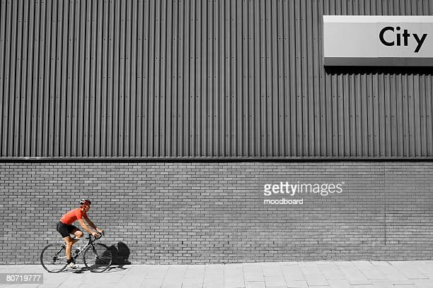 Bicycle Racer on Sidewalk