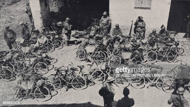 Bicycle racers leaving their bikes to counterattack between Fossalta and Capo d'Argine June 20 Battle of Piave Italy World War I from l'Illustrazione...