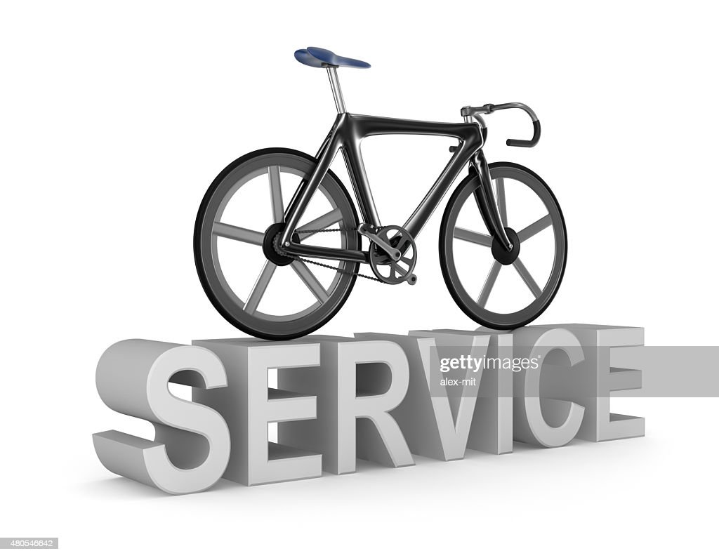 Bicycle repair service icon on white background. My own bicycle design : Stock Photo