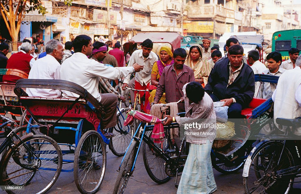 Bicycle rickshaws on Chandni Chowk, Old  Delhi. : Stock Photo