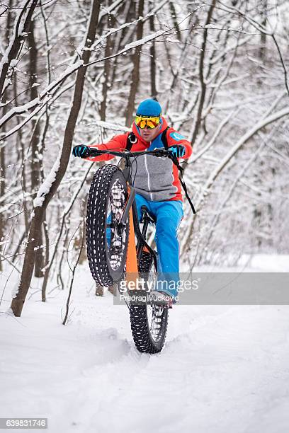 Bicycle rider in the forest