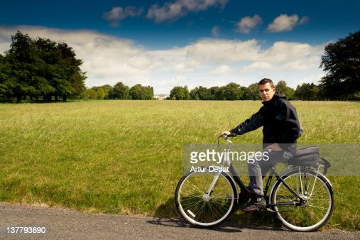 Bicycle Riding Man In Phoenix Park Stock Photo