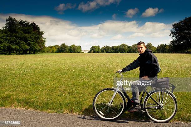 Bicycle riding man in phoenix park