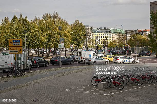 Bicycle to rent are parked on the Lennestrasse near the former course of the Berlin Wall near the Potsdamer Platz on September 24 2014 The former...