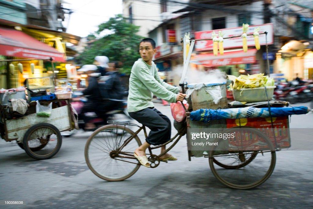 Bicycle traffic at Bia Hoi Corner, Old Quarter.