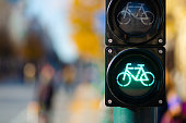 Bicycle traffic signal, green light, road bike, free bike zone or area, bike sharing