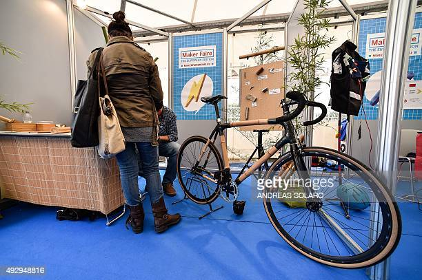 A bicycle with bamboo frame is displayed in a stand of 'Maker Faire Rome' ' exhibition at La Sapienza University in central Rome on October 16 2015...