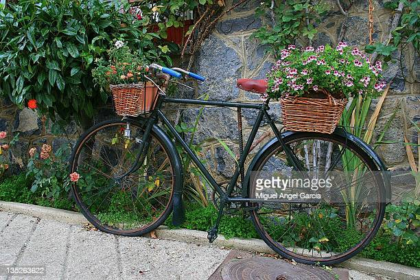 Bicycle with flower baskets
