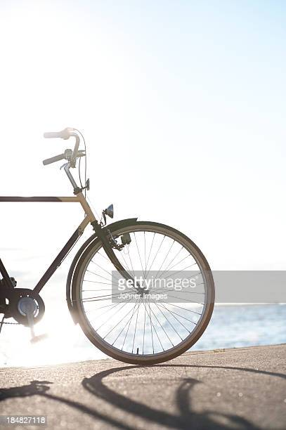 Bicycle with sea in background