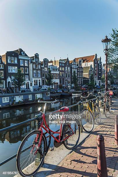 Bicycles and traditional houses on Kreizergracht c