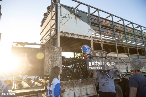 Bicycles are loaded into a road train cattle truck to be transported to the transition area for the Dirt 'n' Dust Triathlon which is part of the...