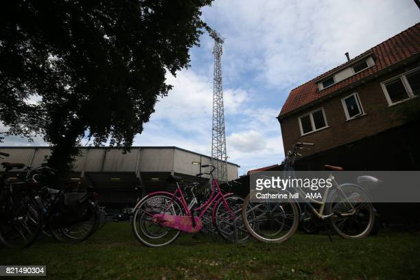Bicycles are parked close to the stadium during the UEFA Women's Euro 2017 match between Iceland and Switzerland at Stadion De Vijverberg on July 22...