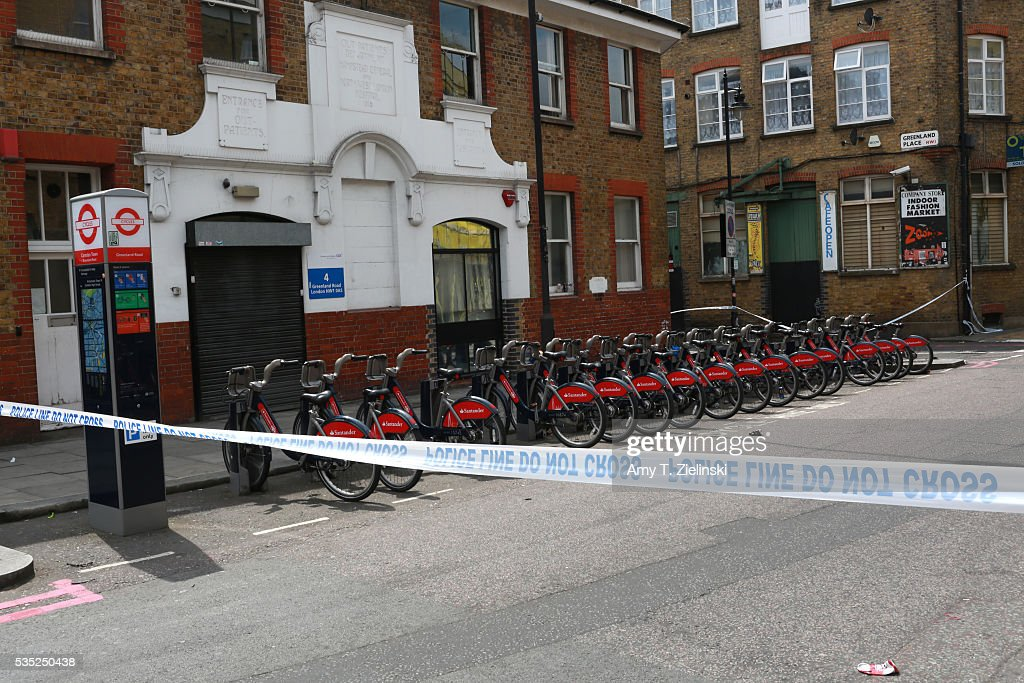 Bicycles are parked within a cordon off section of Greenland road as a murder investigation is underway in Camden on May 29, 2016 in London, England. Reportedly a stabbing took place in the area leaving one man dead after being taken to the hospital.