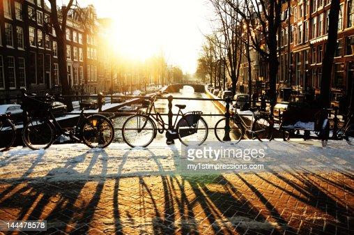Bicycles at dusk