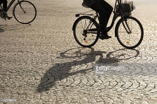 Bicycles casting long shadows on a Paris street