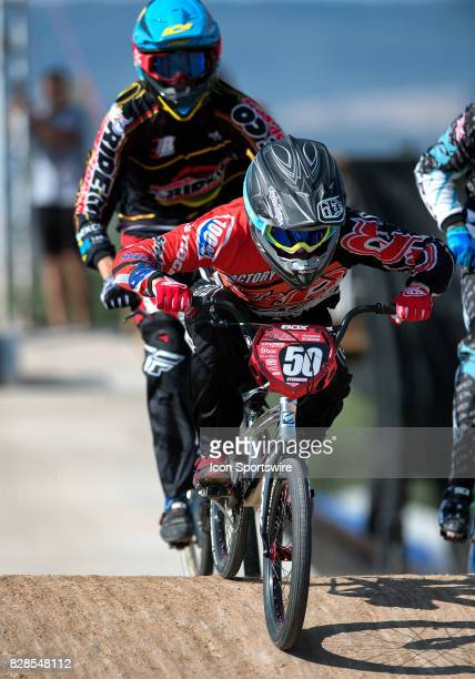 Bicycles' Evan Steinberg hits the first straight during 1927 Expert action at the USA BMX Mile High Nationals on August 6 at Grand Valley BMX in...