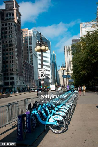 Bicycles for rent on Michigan Avenue Chicago Illinois