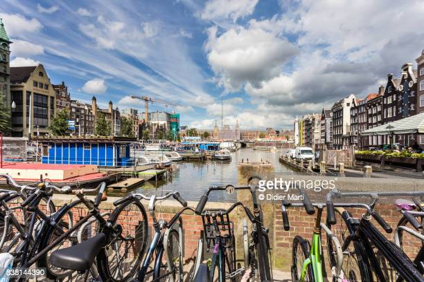 Bicycles in Amsterdam central district in the Netherlands