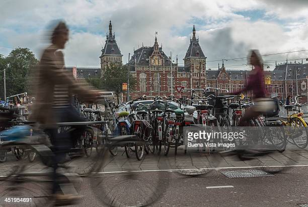 Bicycles in the Central Station square of Amsterda