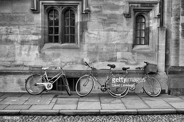 Bicycles in the street outside the Sunday Times Oxford Literary Festival at Christ Church Oxford on March 16 2013 in Oxford England