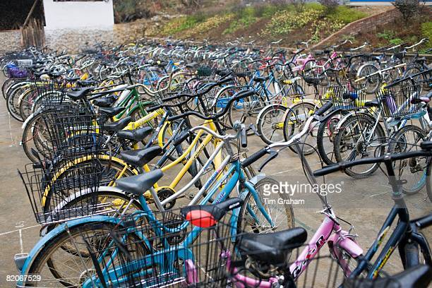 Bicycles lined up outside a school in Xingping China